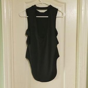 Tops - Sexy black top sleeveless satin dominatrix style